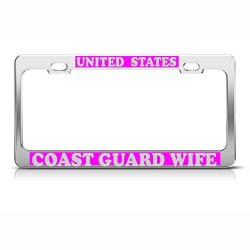 Moon U.S. Coast Guard Wife Heavy Duty Chrome License Plate Frame Tag Pink & Silver Perfect for Men Women Car garadge Decor
