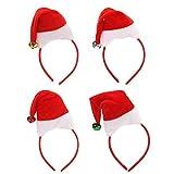 Folora Paquete de 4 sombreros pequeños de Navidad con campanilla de cascabel, diademas navideñas para fiestas de Navidad, fiestas festivas, disfraces de decoración de fiestas