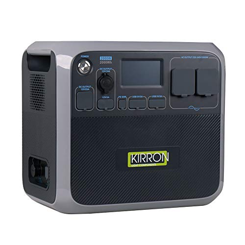 Kirron Powerstation AC200P I Tragbarer Akku Generator 2000 W/2000 Wh I neue Software 1.1 I 230 V Powerbank Steckdose I Notstromaggregat mit AC DC-Port PD Type-C & USB Anschlüssen I Stromspeicher