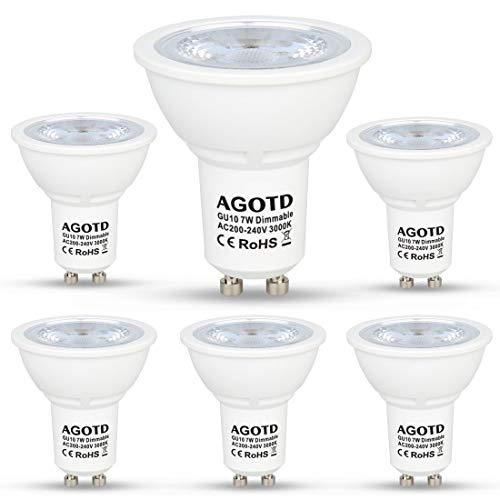 AGOTD GU10 LED Dimmbar 7W Lampen 230V. vgl. 50W MR16 Halogenlampen,560LM,GU 10 Strahler Warmweiß LED 3000k,Dimmen Glatt, kein Flimmer, Kein Lärm, LED Leuchtmittel,38 Grad,6er Pack