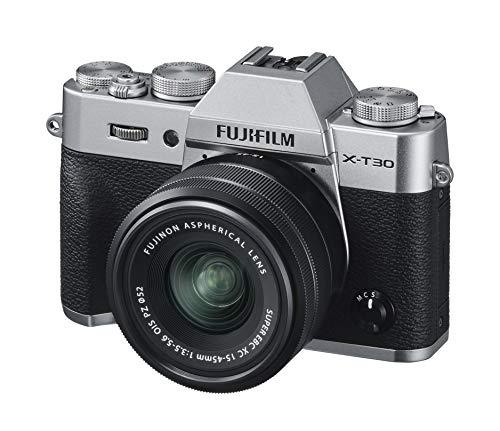 """Fujifilm X-T30 Silver e Obiettivo XC15-45mm F3.5-5.6 OIS PZ, Fotocamera Digitale da 26MP, Sensore CMOS X-Trans 4 APS-C, Mirino EVF, Filmati 4K 30p, Schermo LCD Touch 3"""" Orientabile, Argento"""