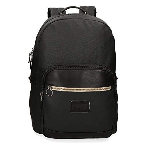 Pepe Jeans Strike Anpassbarer Laptop-Rucksack Schwarz 32x44x15 cms Baumwolle 15,6