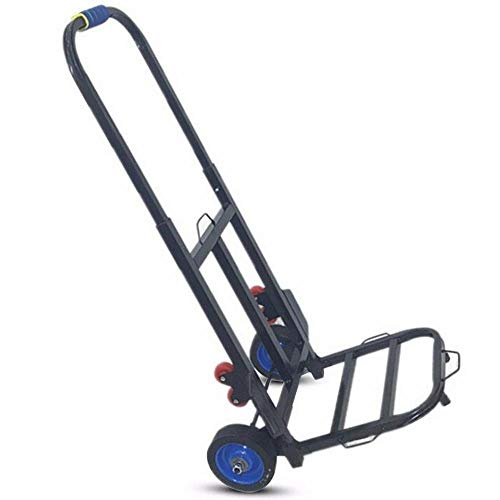 YAODFYL Iron Folding Hand Truck with Anti Puncture Rubber Wheels and 150 kg Capacity,Black Sack Trolley Duty for Home Car Travel Portable Outdoor Supplies Shopping Cart