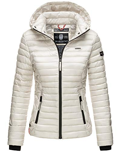 Marikoo Damen Winter Jacke Stepp Jacke mit Kapuze Übergangsjacke SMT2 (S, Silber)