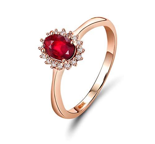 AnazoZ Anillo con Rubi Mujer,Anillo de Oro Rosa 18K Oro Rosa y Rojo Oval Rubí Rojo 0.5ct Diamante 0.11ct Talla 21
