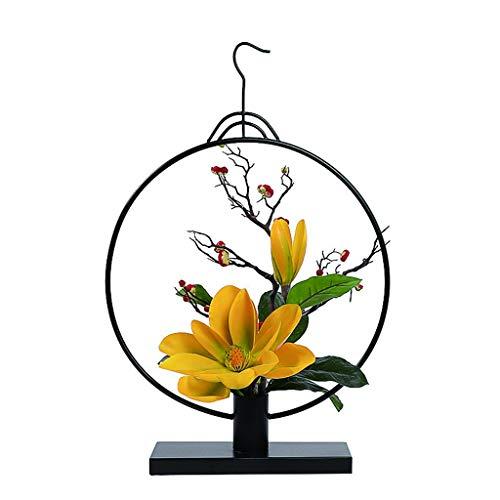 NYKK Künstliche Blume Silikon Künstliche Tulip Blumen verwendet for Wohnzimmer Esstisch Büro-Fälschungs-Blumen-Bonsais mit Metallblumentopf Rahmen Ewige Blume