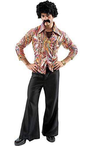 ORION COSTUMES Disfraz de Bailarín de Disco Hippie de los años 70 Camisa y Pantalones Acampanados para Hombres