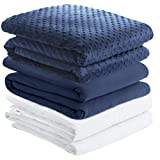 Degrees of Comfort Cooling Weighted Blanket with Cover 2 Duvet Covers | Advanced Glass Beads Deliver Durability & Silky Comfort | Fit One Person Twin Full Bed 48x72 12 lbs Navy