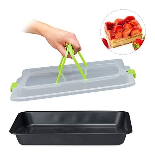 Relaxdays bakplaat met deksel, partycontainer, taartbox, met handvatten, hoekig, 3in1, BxD: 40 x 33 cm, groen-zwart
