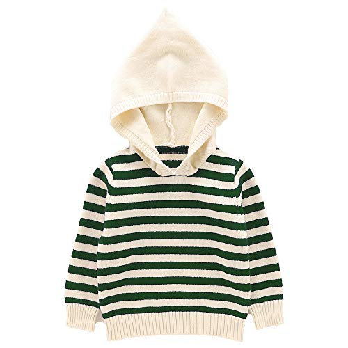 Moonnut Baby Boys Girls Striped Pullover Hoodie Unisex Baby Hooded Sweater with Pocket Casual Sweatshirt Tops (18-24months, Green&White)