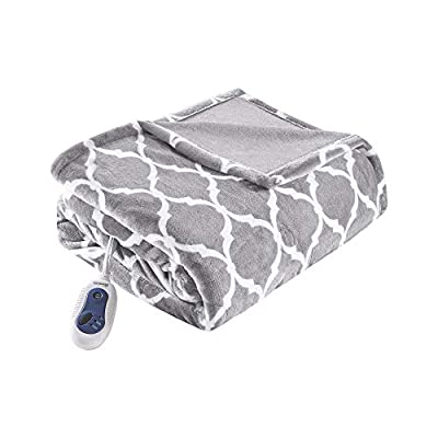 """Beautyrest Plush Electric Throw Blanket – Secure Comfort Technology-Oversized 60"""" x 70""""-Ogee Pattern in White-Cozy Soft Microlight-3-Setting Heat Controller, 60x70, Grey by Beautyrest"""