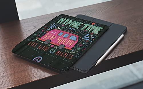 Funda para iPad 10.2 Pulgadas,2019/2020 Modelo, 7ª / 8ª generación,Flower Vintage Hippie Time Mini Van Lettering Life sin remordimientos Retro Bus Car Smart Leather Stand Cover with Auto Wake/Sleep