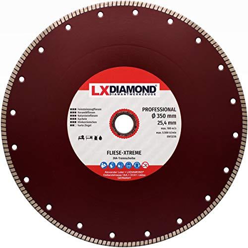 LXDIAMOND Disco de corte de diamante de 115 – 350 mm, para azulejos, gres porcelánico, azulejos de cerámica, piedras naturales, correa extrafina para cortes exactos (350 mm x 25,4 mm)
