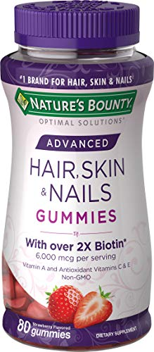 Nature's Bounty Optimal Solutions Advanced Hair, Skin, Nails, 2X Biotin, 80 Strawberry Gummies