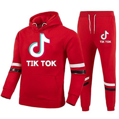 Sweatshirts Jungen Mädchen Tik-Tok 2Er Set Hoodies Und Jogger Modetrend Kleidung Set Hosen 2Er Set Set rot XXL