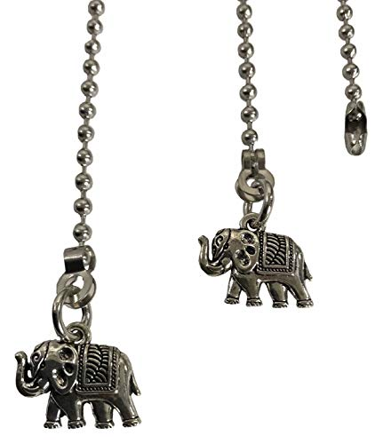 Circus Elephant Fan Light Pull Chain Replacement Set Silver Tone 3.2mm