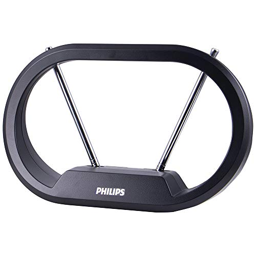 Philips Indoor TV Antenna, Modern Loop with 15 Inch Extendable Dipoles, Tabletop TV Antenna, Digital HDTV Antenna, Smart TV, 4K 1080P VHF UHF, Compact Design, 4ft Coaxial Cable, Black, SDV7114A/27