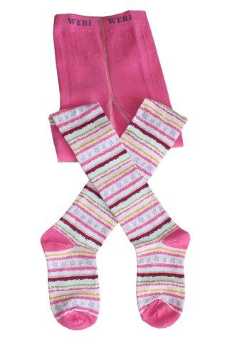 Weri Spezials Panty voor baby's en kinderen, donkerroze, fijne strepen met bloemen