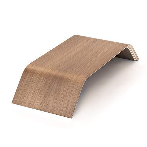 FEYN DESK ® Bambus Monitorständer - optimale Breite [55cm] ideal auch für große Bildschirme & Tastaturen - Rutschfester Monitor Stand [Farbe: Walnut]
