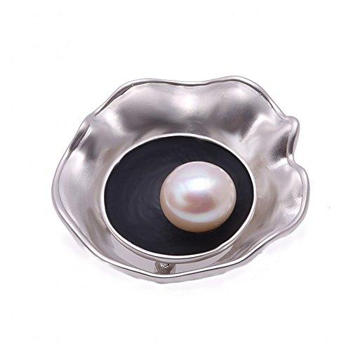 JYX encantador broche de perla blanca de 13 mm con broche de solapa