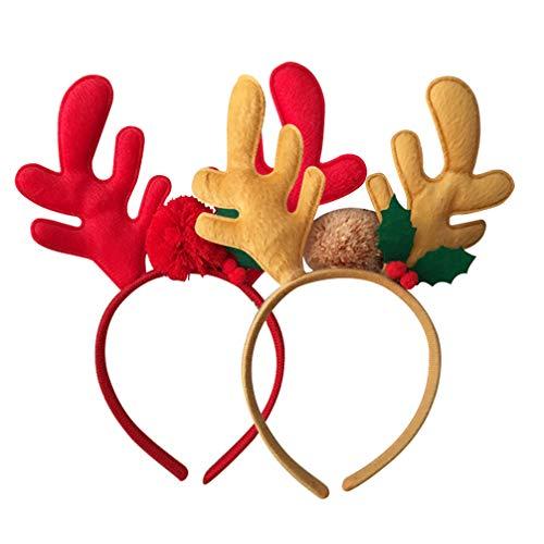 Minkissy 2 piezas diademas navideñas de felpa astas de reno cuernos de navidad aros fiesta cosplay disfraz tocado accesorios de foto para mujeres niñas