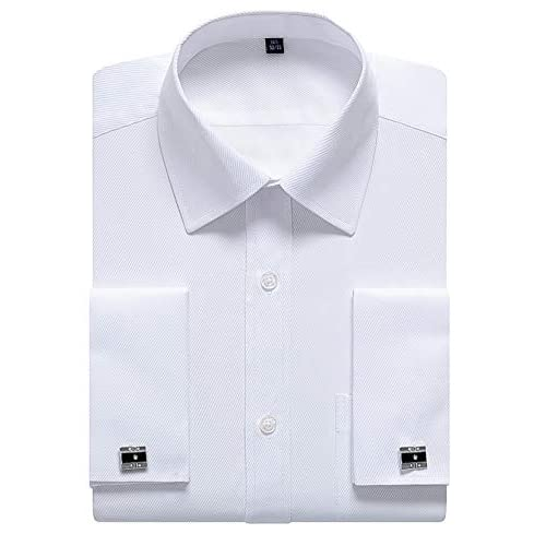 siliteelon Mens Double Cuff Long Sleeve Dress Shirts Cufflinks Included
