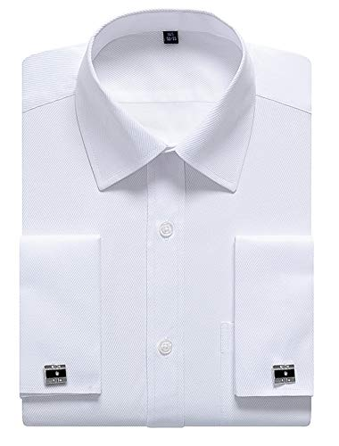 siliteelon Mens White Double Cuff Shirt, French Cuff Formal Dress Shirts (Cufflinks Included) , 16.5 inch Neck--32 inch/33 inch Sleeve, White