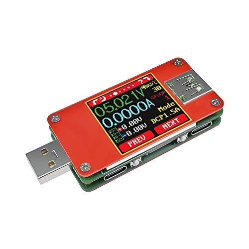 diymore USB 2.0 Probador multifuncional UT25 voltímetro Amperímetro Probador tipo C Color TFT LCD Voltaje de corriente digital Monitor Cable Resistencia Batería Capacidad de energía Cargador