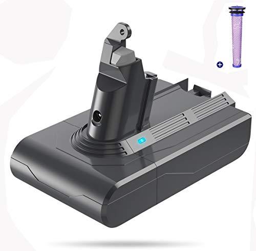 FLYLINKTECH 3500mAh 21.6V Batterie Pour Dyson V6 DC62 DC59 DC61 DC58 DC72 DC74 Aspirateur à Main Remplacement Batterie pour Dyson SV03 SV09 SV05 SV06 SV07, avec 1 Filtre