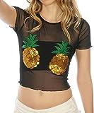 Shop Delfina Women's Sequin Pineapple Sheer Mesh See Through Crop Top Bralette, Large Black