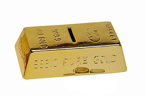 Spardose Goldbarren, Gold Barren Sparbüchse mit Schlüssel und Schloss, Sparschwein abschließbar