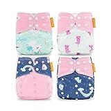 HahaGo Couches lavables pour bébé Couches réutilisables pour bébé Insérez une couche de poche tout-en-un pour la plupart des bébés et des tout-petits (4pcs, nuage et licorne)