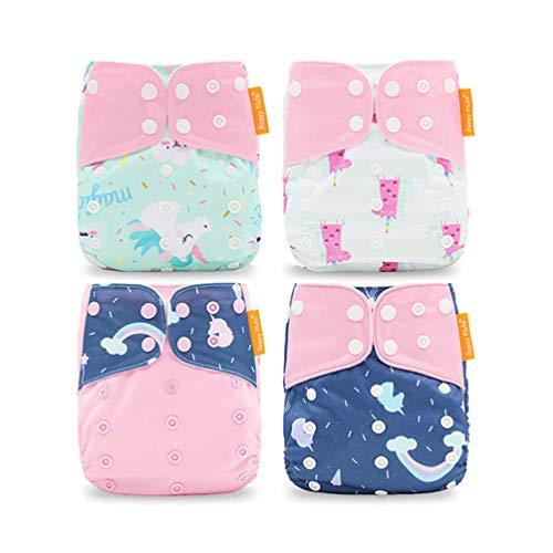 HahaGo Baby Stoffwindel waschbar wiederverwendbare Windeln All-in-One-Taschenwindel für die meisten Babys und Kleinkinder (4PCS, Wolke u. Einhorn)