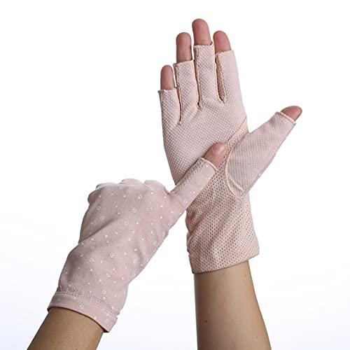 Guantes de Verano de algodón para Mujer, sin Dedos, Medio Dedo, Antideslizante, protección Solar, Guantes de conducción Cortos de Punto Fino-75Pink