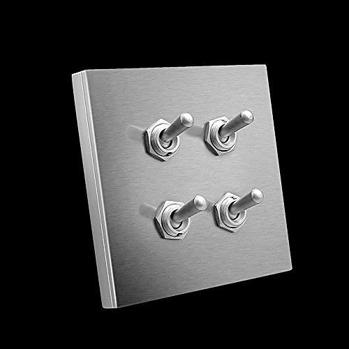 PJDOOJAE Interruptor de palanca 86 Tipo Interruptor de palanca AC 10A / 220V 4GANG Interruptor de palanca Interruptor de luz oculto Panel de acero inoxidable oculto 4 GAND 2 Vías Cambiar interruptor r