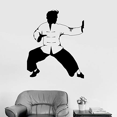 yaonuli Kung Fu Vinyl Wandtattoo Kämpfer Oriental Martial Art Karate Wandaufkleber Für Fitnessraum Wandaufkleber 43X50cm