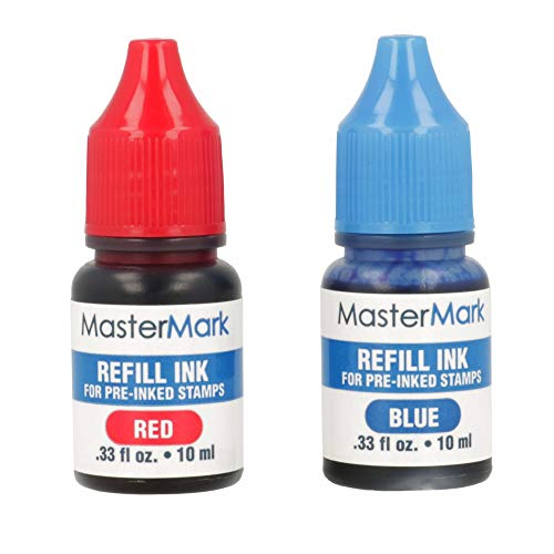 MasterMark Ink Refill Set for Pre-Inked Stamps - 2 Pack - Red and Blue Ink