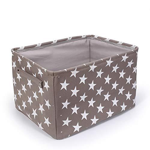 BrilliantJo Grande Caja de Almacenamiento de Tela, Cesta de Almacenamiento de Lona Engrosada Plegable con Asas de Cuerda para Ropa, Juguetes (Gris, 40X30X25cm)