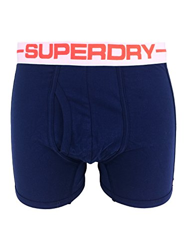 Superdry Mens Sport Boxer Double Pack in Optic and Richest Navy (Small)