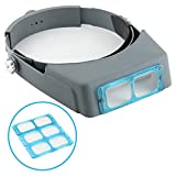 Headband Magnifier Double Lens Head-Mounted Reading Magnifier Loupe Jewelry Visor Opitcal Glass Binocular Magnifier with Lens Magnification-1.5X 2X 2.5X 3.5X