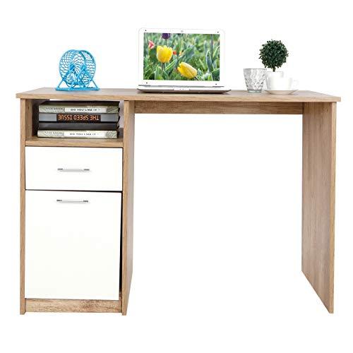 Escritorio para ordenador, mesa de oficina, de madera, con cajones y armarios, mesa para casa, oficina, 105 x 50 x 75 cm