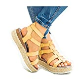 ZYAPCNGN Sandals for Women Women's Platform Sandals Casual Shoes Ankle Buckle Strap Open Toe Summer Sandals Wedge Sandals Yellow