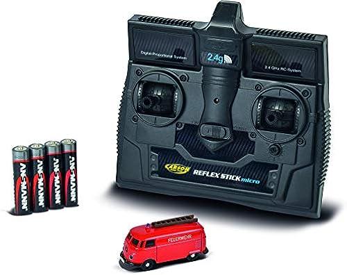 CARSON 500504120 - 1 87 VW T1 Kastenwagen Feuerwehr 2.4G RTR, Fahrfertiges Modell, 2.4 GHz Fernsteuerung mit Ladeanschluss, inkl. 4xAAA Senderbatterien,LED Beleuchtung und Blaulichtfunktion, Anleitung