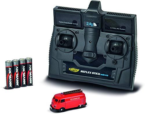 Carson 500504120 - 1:87 VW T1 Kastenwagen Feuerwehr 2.4G RTR, Fahrfertiges Modell, 2.4 GHz Fernsteuerung mit Ladeanschluss, inkl. 4xAAA Senderbatterien,LED Beleuchtung und Blaulichtfunktion, Anleitung