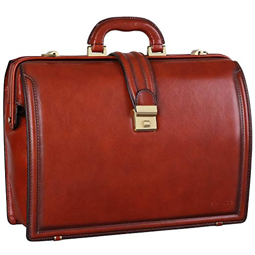 Banuce Full Grain Italian Leather Briefcase for Men Doctor Bag Lawyer Attache Case Hard with Lock 15.6 Inch Laptop Business Bags