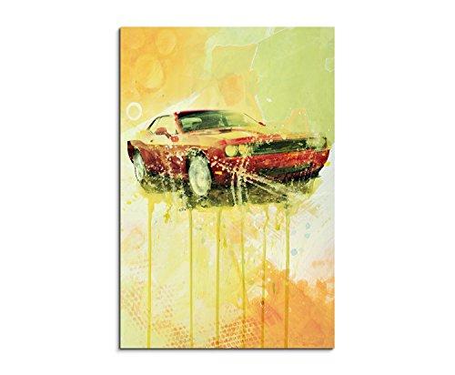 Dodge Challenger 90x60cm Wandbild Aquarell Kunstbild Malerei Leinwandbild Fotoleinwand von Paul Sinus Art