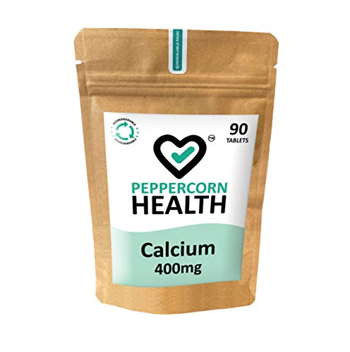 Vegan Calcium 400mg, 90 Tablets, Food Supplement, Peppercorn Health. One or Two Tablets a Day. Calcium contributes to The Maintenance of Healthy Bones and Teeth. Vegan