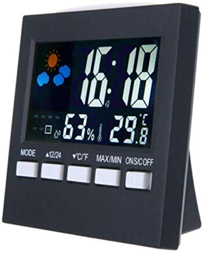 Weerstation Alarm Thermometer Wireless temperatuur vochtigheid, Zwart, Kleur: Zwart (Color : Noir)