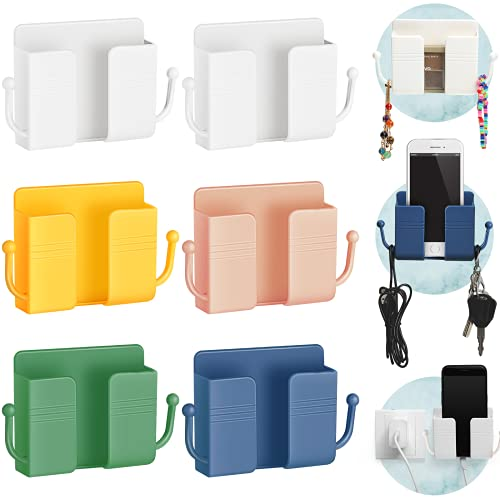 6 Pieces Wall Mount Phone Holder Self-Adhesive Wall Beside Organizer Storage Box Plastic Charging Phone Stand Remote Wall-Mounted Phone Brackets Holder for Bedroom (White, Yellow, Green, Pink, Blue)