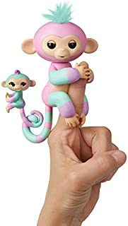 WowWee Fingerlings Baby Monkey & Mini BFFs - Ashley & Chance (Pink-Turquoise) 3542